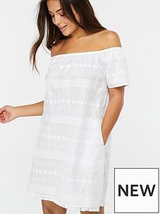 a0b159ffc42e Accessorize Off-The-Shoulder Schiffli Beach Dress - White