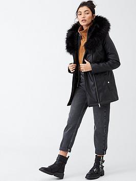 v-by-very-faux-leather-fur-trim-parka-black