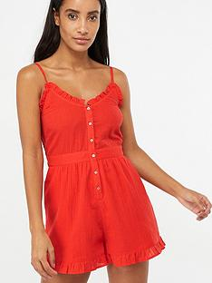 accessorize-frill-button-through-playsuit-ndash-red