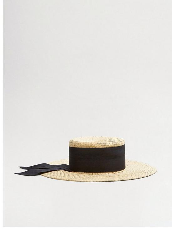 Image result for Mango Bow Detail Fedora Hat - Sand