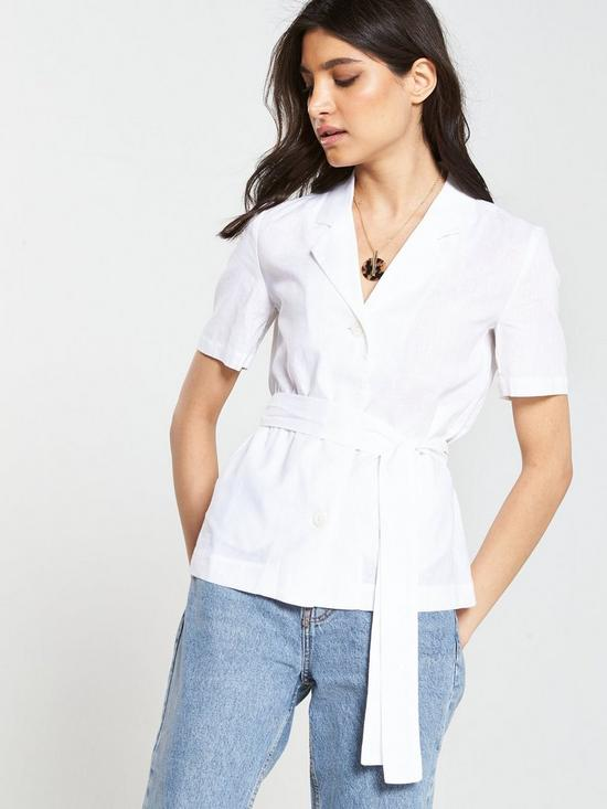 4af64a97 Mango Utility Belted Short Sleeve Shirt - Off White | very.co.uk