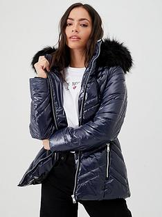 v-by-very-short-high-shine-padded-coatnbspwith-faux-fur-trim-navy