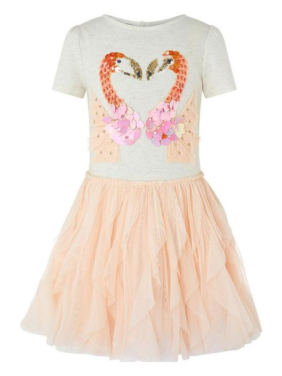beb25998d Monsoon Girls Disco Flamingo Dress - Pale Pink | very.co.uk