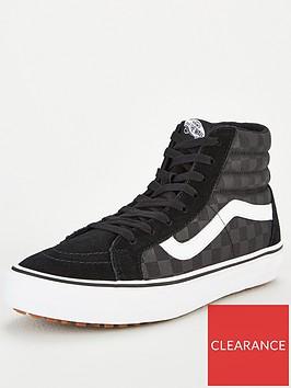 vans-sk8-hi-checkerboard-plimsolls-black