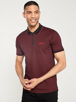 hugo-direnze-zipped-polo-shirt-red