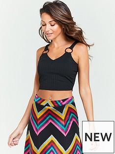 d30f1b40488 Michelle Keegan Ring Trim Cropped Jersey Top - Black