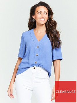michelle-keegan-turnback-cuff-casual-blouse-denim-blue