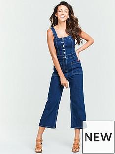 40573b65dca1 Michelle Keegan Contrast Stitch Denim Culotte Jumpsuit - Indigo