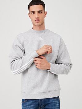 adidas-3-stripe-back-crew-sweat-grey