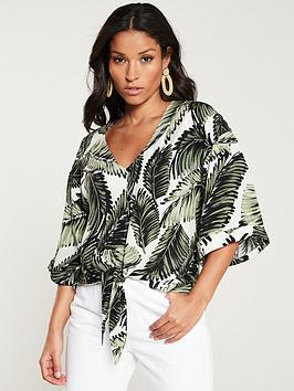 v-by-very-tie-front-leaf-print-blouse