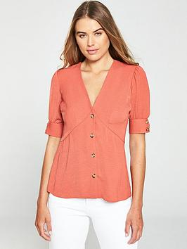 v-by-very-tie-sleeve-button-through-blouse-rose-pink
