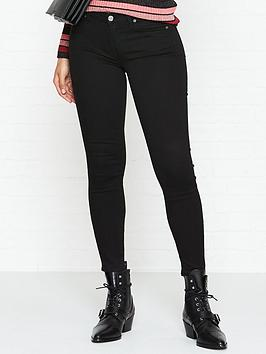 7 for all mankind bair mid rise crop skinny jeans - rinsed black