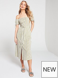 miss-selfridge-miss-selfridge-stripe-bardot-button-through-midi-dress