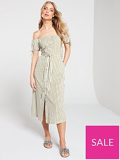 4e9bf3706d5e Miss Selfridge Miss Selfridge Stripe Bardot Button Through Midi Dress