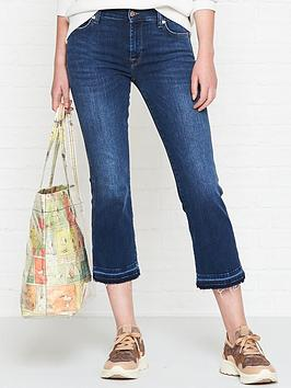 7 for all mankind unrolled hem cropped bootcut jeans - old song