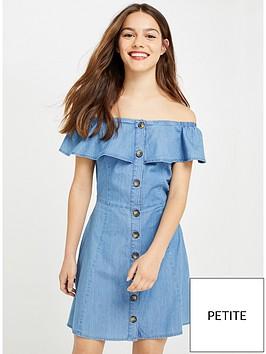 miss-selfridge-petite-twill-denim-bardot-dress-blue
