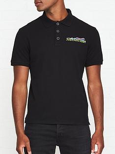 just-cavalli-just-tiger-print-polo-shirt-black