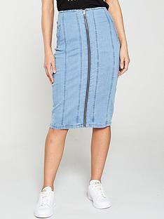 392a8e429525 V by Very Zip Through Denim Midi Skirt - Light Wash