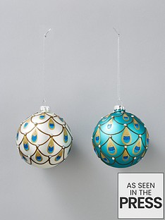 sass-belle-peacock-style-christmas-tree-baubles-set-of-2