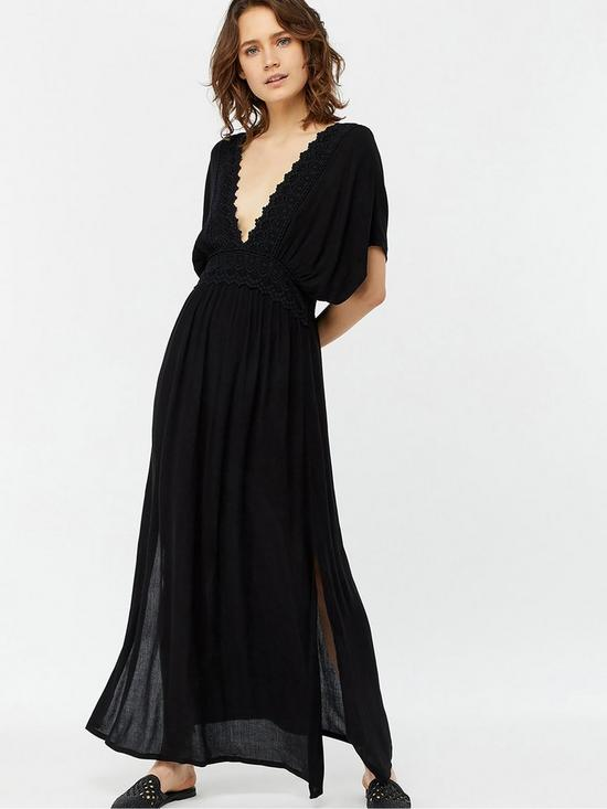 f0d978bb53 Accessorize Lace Insert Beach Maxi Dress - Black | very.co.uk