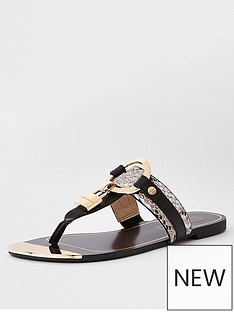 f3d75d3bbe8eb River Island Padlock Toe Sandals - Black