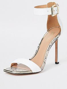 6f89dde50029 River Island River Island Croc Detail Barely There Heel Sandals - White