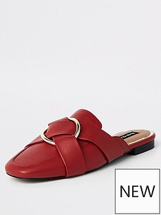 0963c41854f River Island River Island Wide Fit Backless Loafer - Red