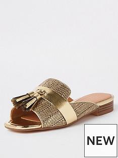 10485a3dbeb0 River Island River Island Peep Toe Tassel Sandals - Gold