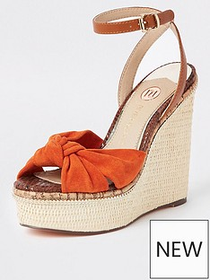 8fd86806871 River Island River Island Bow Detail Platform Wedges - Orange