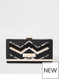 6d9336f59fbc River Island River Island Panelled Cliptop Purse - Black