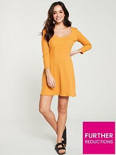 v-by-very-ribbed-skater-mini-dress-mustard