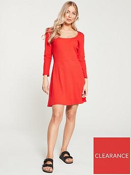 v-by-very-ribbed-skater-mini-dress-red