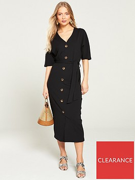 v-by-very-v-neck-mock-horn-midi-dress-black