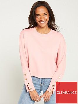 v-by-very-raw-hem-button-sweat-blush-pink