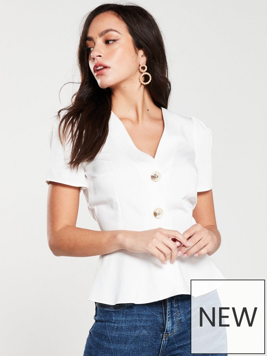 aaa578fef3a48 ... Button Front Tea Blouse- White. Purchased 17 times in the last 48 hrs.