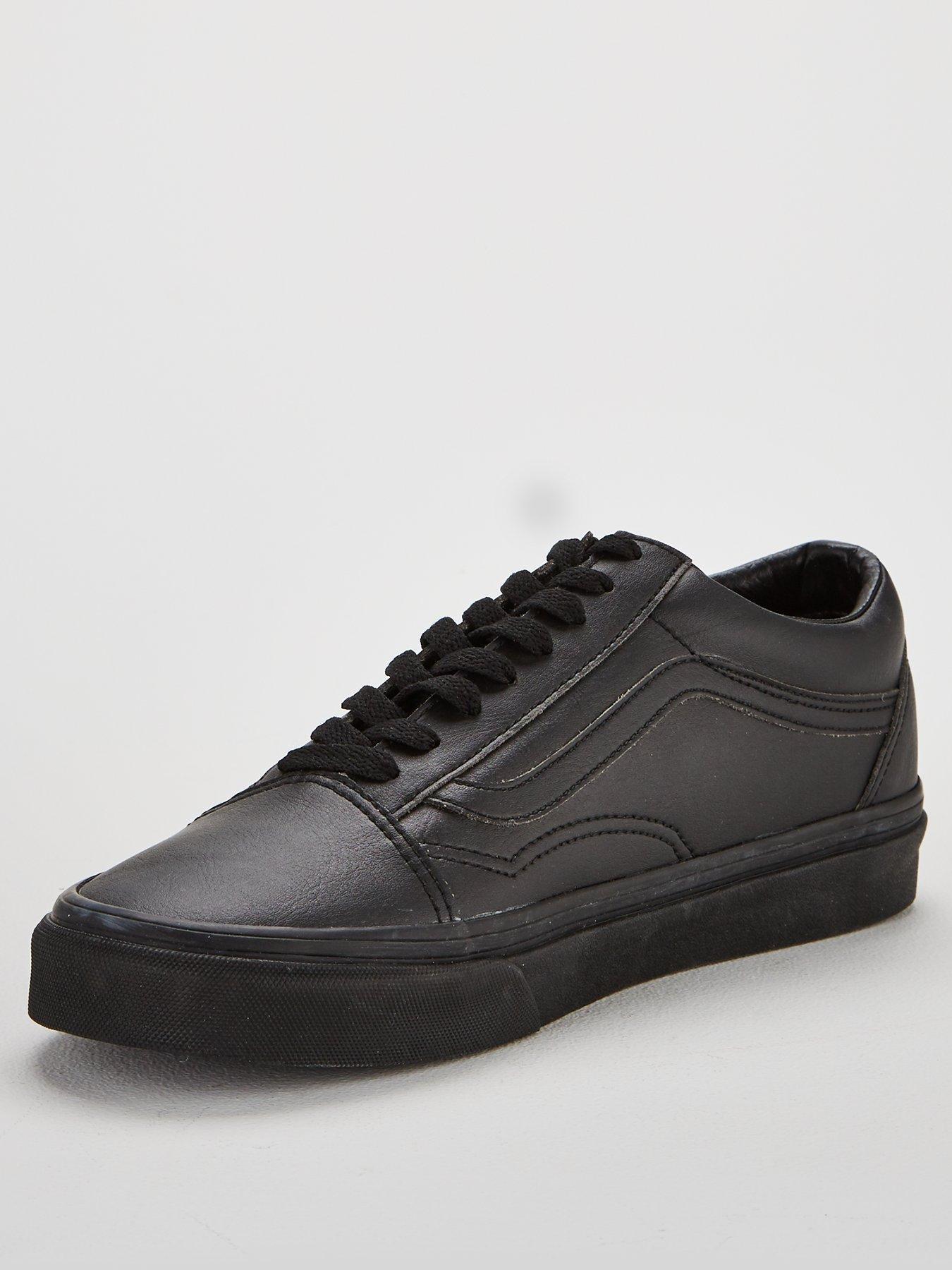 leather vans old skool black