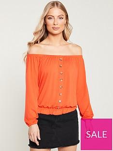 cc1cab000837ce V by Very Bardot Button Through Top - Orange