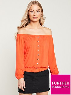 v-by-very-bardot-button-through-top-orange