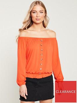 v-by-very-bardot-button-through-top-orange