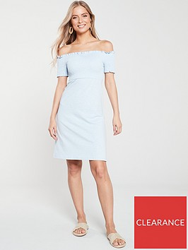 v-by-very-jersey-ruched-mini-dress-blue