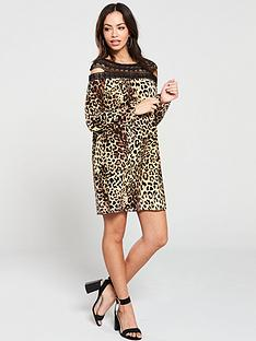 v-by-very-lace-panel-mini-dress-leopard-print