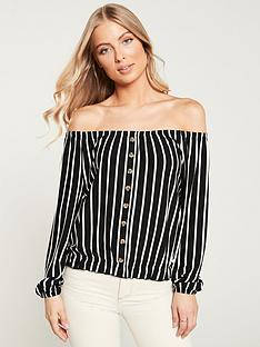 v-by-very-bardot-button-through-top-stripe