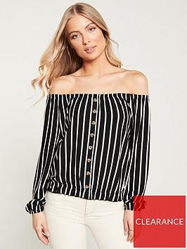 v-by-very-bardot-button-through-top-stripe