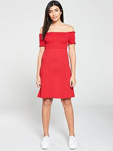 v-by-very-jersey-ruched-mini-dress-red
