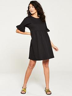 v-by-very-frill-sleeve-mini-dress-black