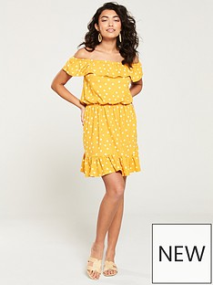 edd66c804c3 V by Very Bardot Jersey Mini Frill Dress - Mustard