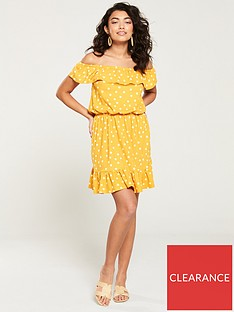 v-by-very-bardot-jersey-mini-frill-dress-mustard