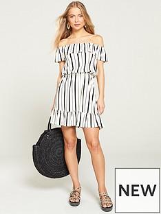 6e16c4a866 V by Very Bardot Jersey Mini Frill Dress - Stripe
