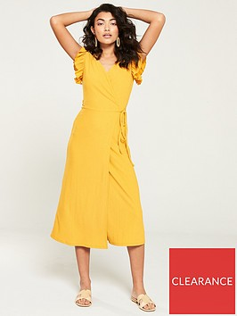 v-by-very-jersey-wrap-frill-sleeve-midi-dress-mustard