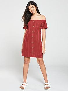 v-by-very-button-through-off-the-shoulder-mini-dress-rust